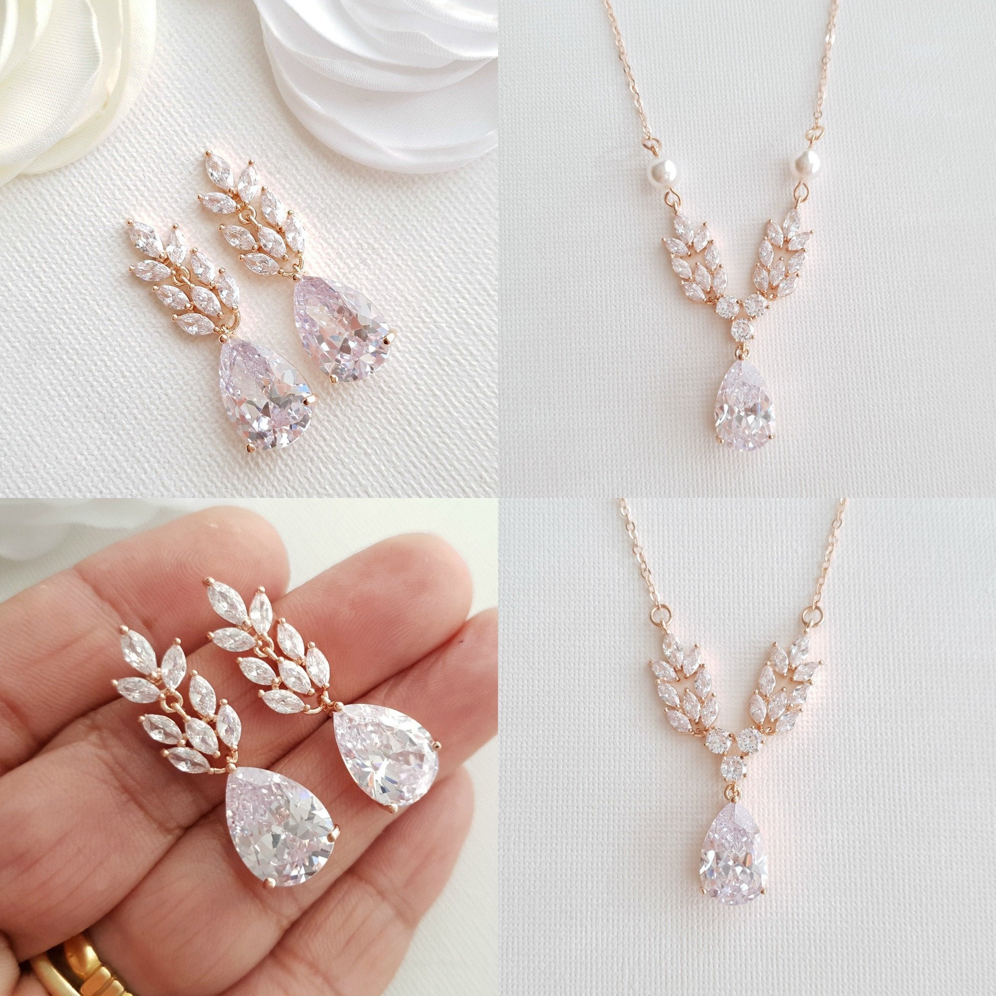 Rose Gold Leaf Necklace Earrings Wedding Set- Willow - PoetryDesigns