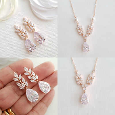 Rose Gold Leaf Necklace Earrings Wedding Set- Willow