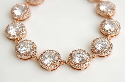 Rose Gold Wedding Bracelet, Crystal Bridal Bracelet, Wedding Jewelry, Rose Gold Cubic Zirconia Bracelet, Evita