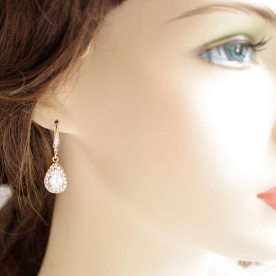 Rose gold Crystal Dangle earrings in Cubic Zirconia