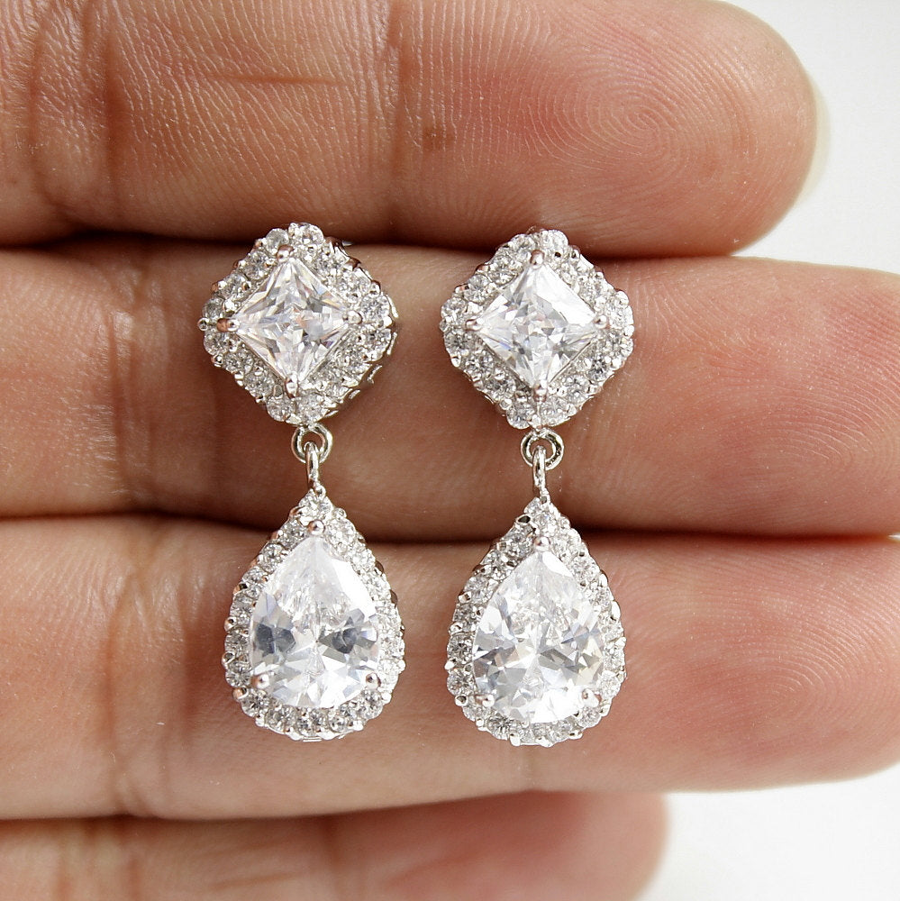 Bridal Earrings Wedding Rose Gold Earrings Clear Cubic Zirconia Posts Teardrop Bridesmaid Earrings Wedding Earrings, Kala Earrings