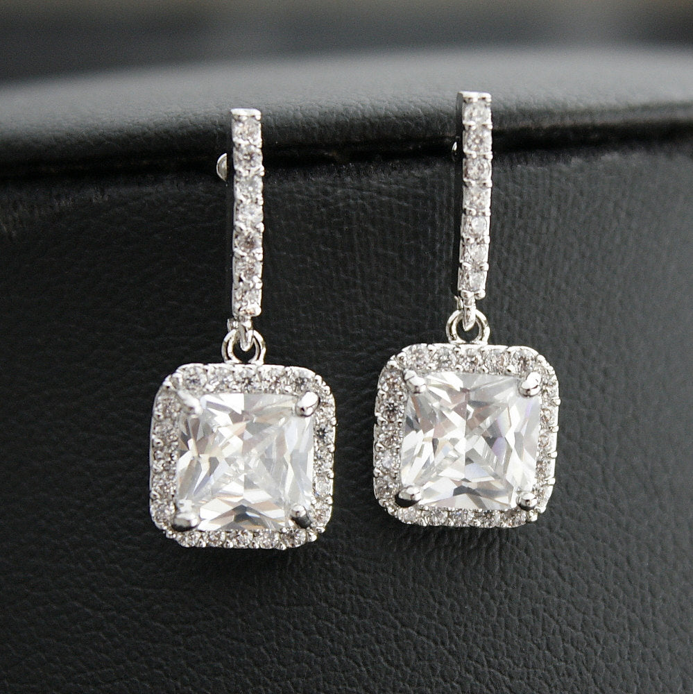 Wedding Earrings, Square Bridal Earrings, Small Square Drop Earrings, Crystal Wedding Jewelry, Bridal Jewelry, Louise