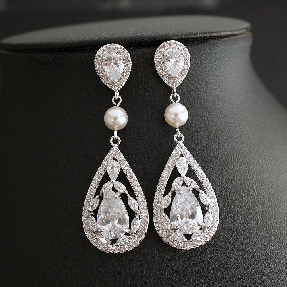 Teardrop Wedding Earrings