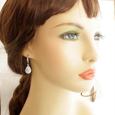 Teardrop dangle wedding earrings with decorative ear hooks