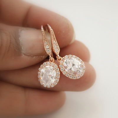 oval rose gold dangle earrings