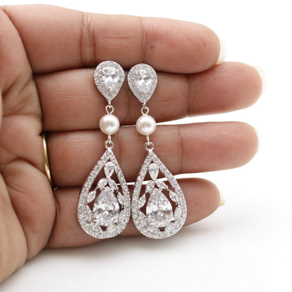 Teardrop Wedding Earrings-Esther
