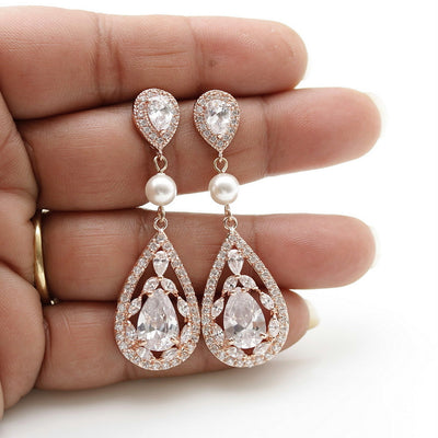 Rose gold crystal drop earrings