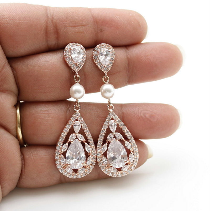 Rose Gold Crystal Earrings-Esther