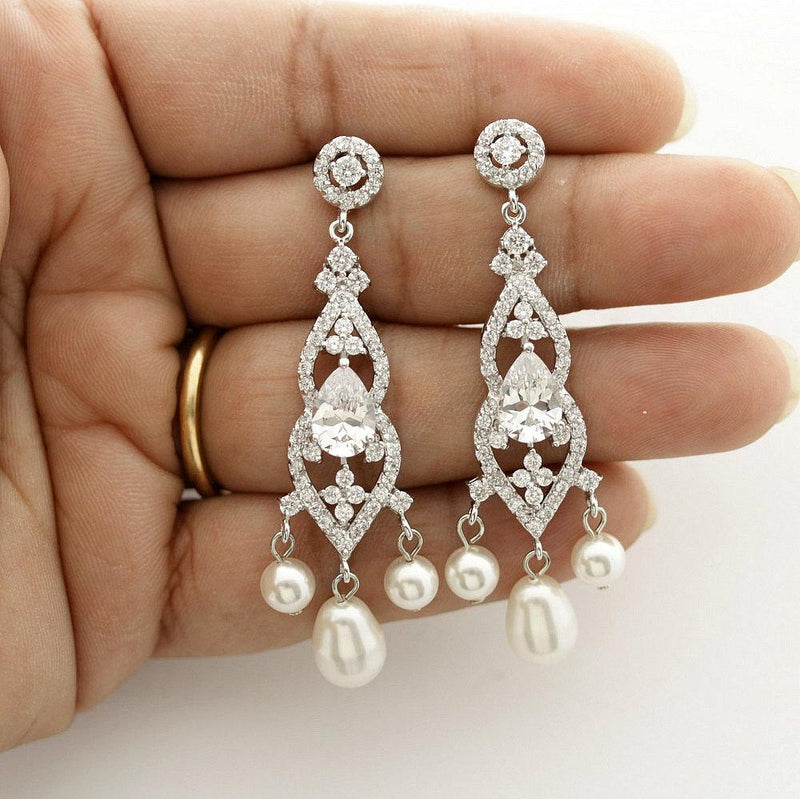 Bridal Chandelier Earrings, Wedding Earrings, Gift for Wife, Crystal and Pearl Earrings, Wedding Jewelry, Bridal Jewelry, Laura