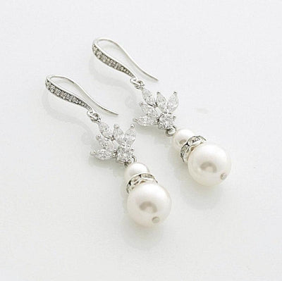 Pearl Drop Wedding Earrings Cubic Zirconia Bridal Earrings Swarovski Pearls Crystal Wedding Jewelry Pearl Dangle Earrings, Rosa