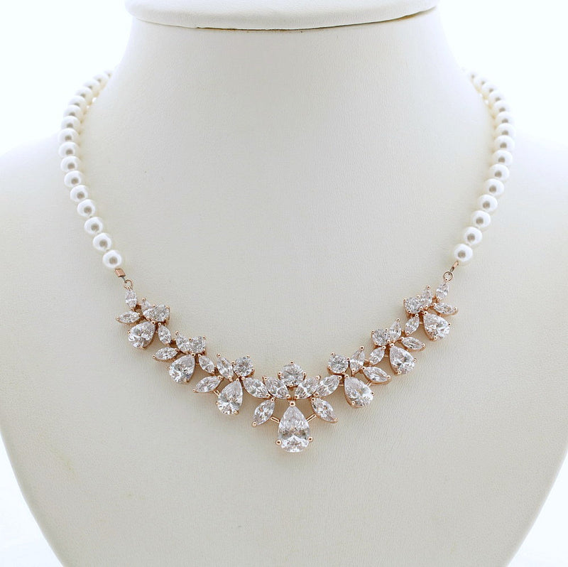 Rose Gold Backdrop Necklace, Bridal Back Necklace, Crystal Pearl Wedding Necklace, Romantic Wedding Necklace Bridal Jewelry, Nicole