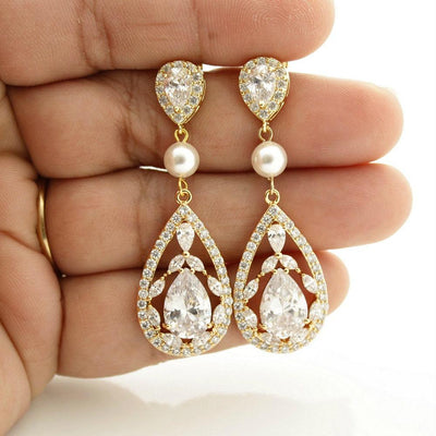 Cubic Zirconia Gold Drop Earrings