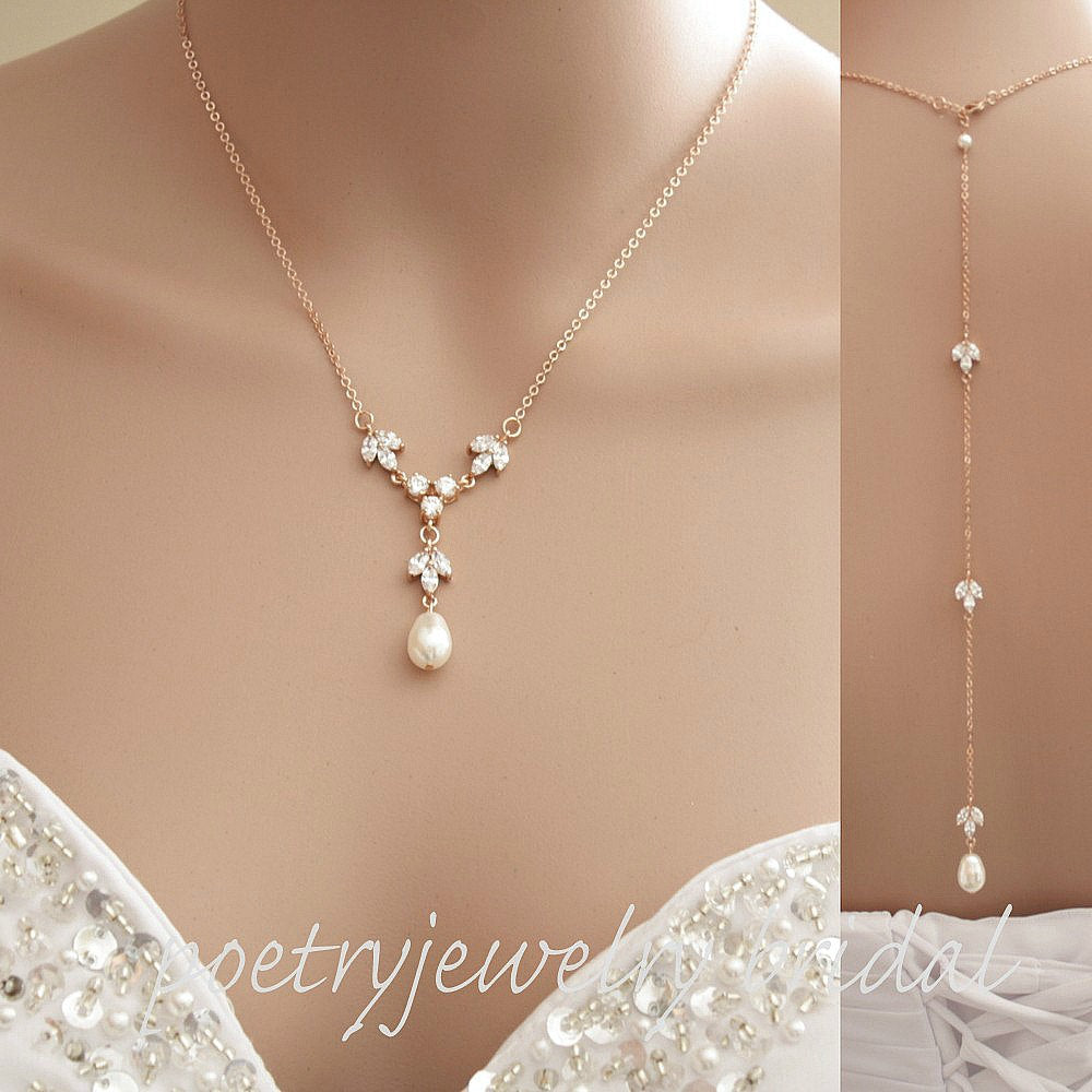 Rose Gold Bridal Backdrop Necklace, Rose Gold Back Necklace, Rose Gold Wedding Jewelry, Crystal Back Necklace, Bridal Jewelry, Leila