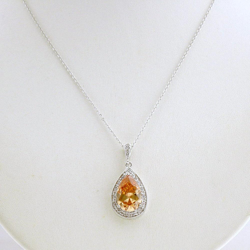 Wedding Pendant Necklace, Champagne Teardrop Necklace, Gold Wedding Necklace, Cubic Zirconia, Bridal Jewelry, Champagne