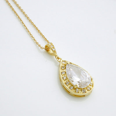 Bridal Necklace Gold Large Clear Cubic Zirconia Teardrop pendant Gold Wedding Jewelry CZ Crystal Wedding Necklace, Evelyn