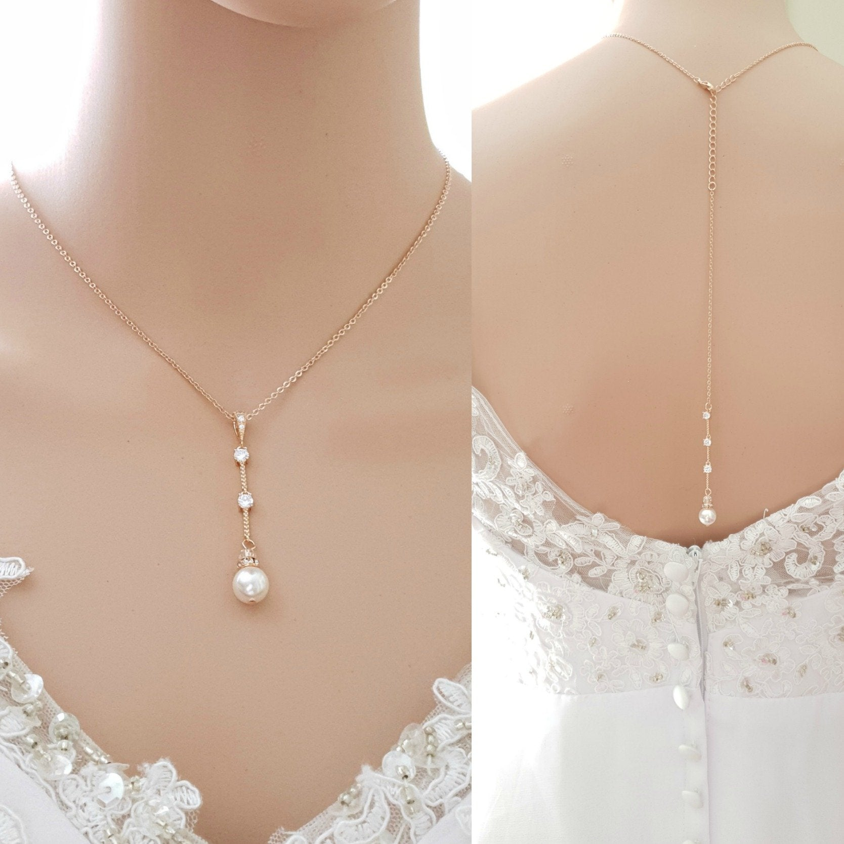 Rose Gold Backdrop Wedding Necklace-Ginger - PoetryDesigns