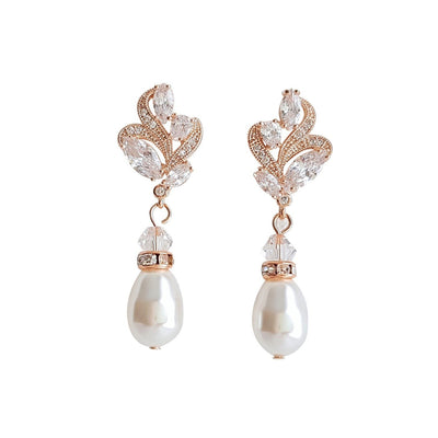 Gold Bridal Earrings With Pearl Drops-Wavy