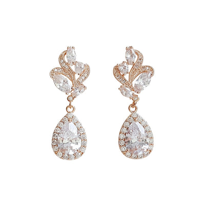 Pink Gold Bridal Earrings-Wavy
