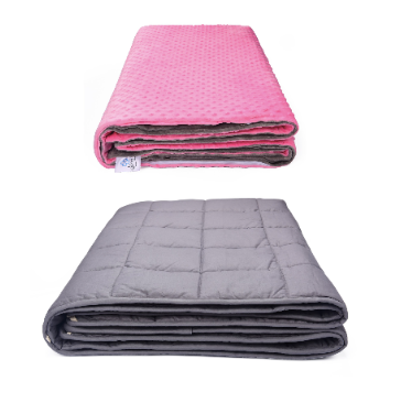 SNUZI LIFE 5.5kg Premium Weighted Blanket & Removable Cover, Pink