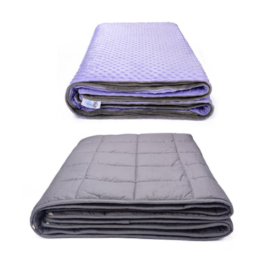 SNUZI LIFE 5.5kg Premium Weighted Blanket & Removable Cover, Purple