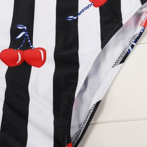 Striped w/Cherries Whole Piece Bathing Suit