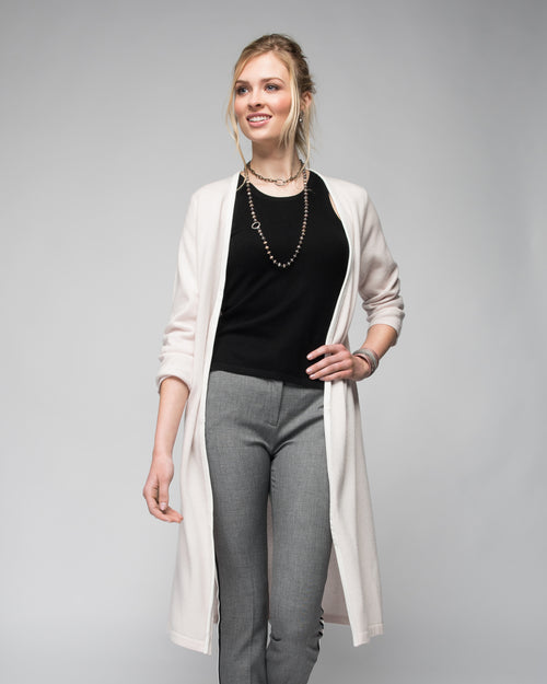 Cashmere Duster with Leather Trim in Shell