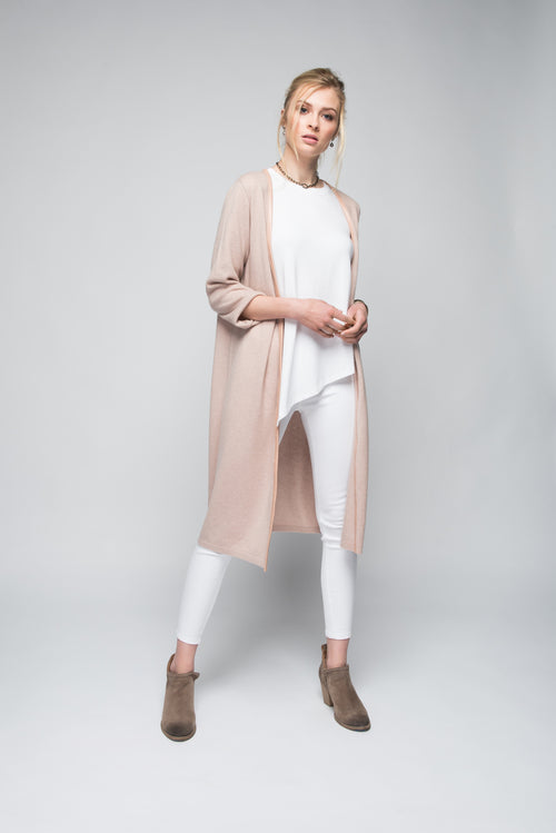 Cashmere Duster with Leather Trim in Blush