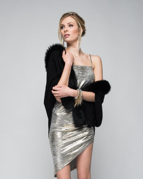 Cashmere Cape with Front Fox Fur Trim in Black