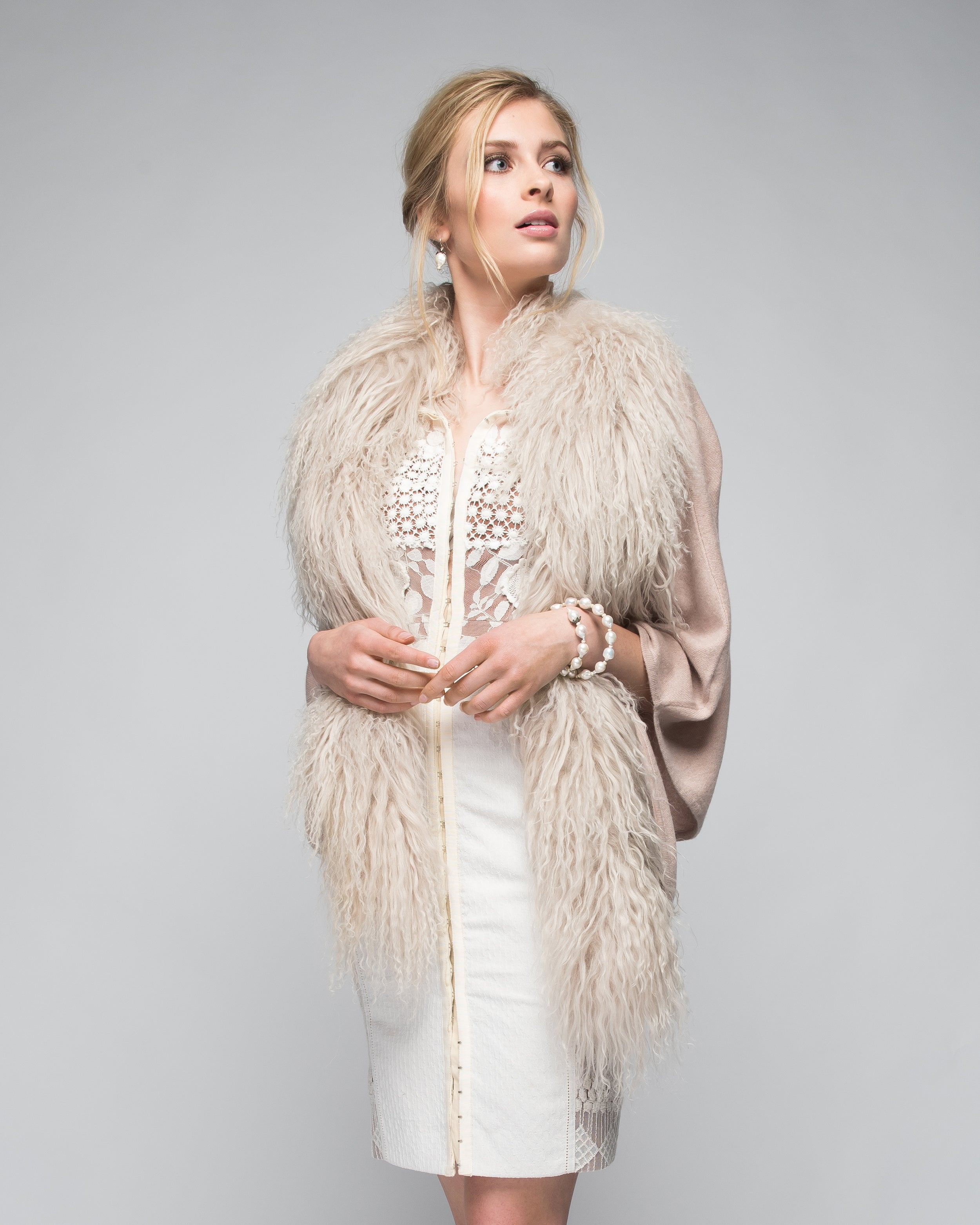 Cashmere Cape with Front Tibetan Sheep Fur Trim in Blush