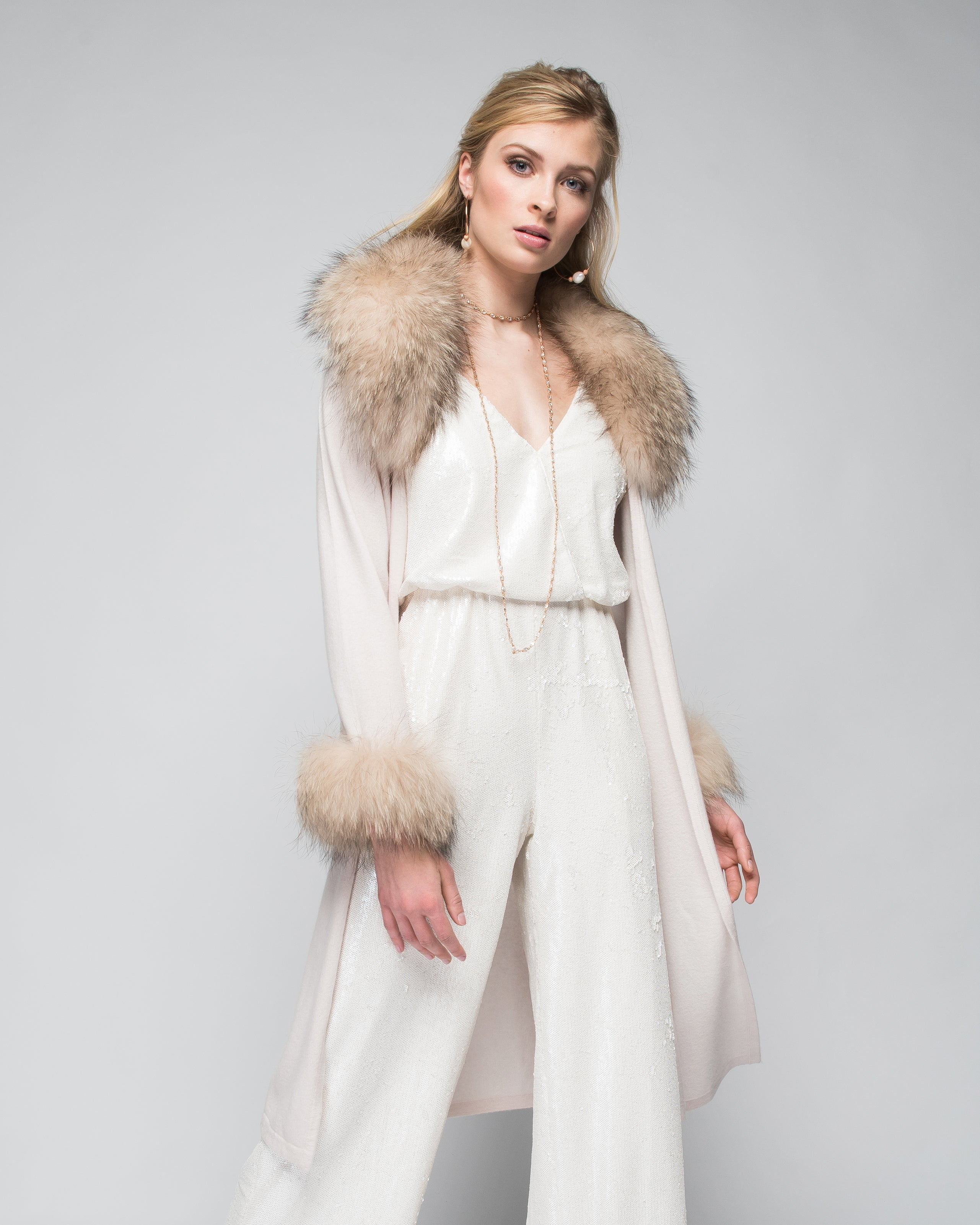 Cashmere Duster with Raccoon Fur Trim in Shell