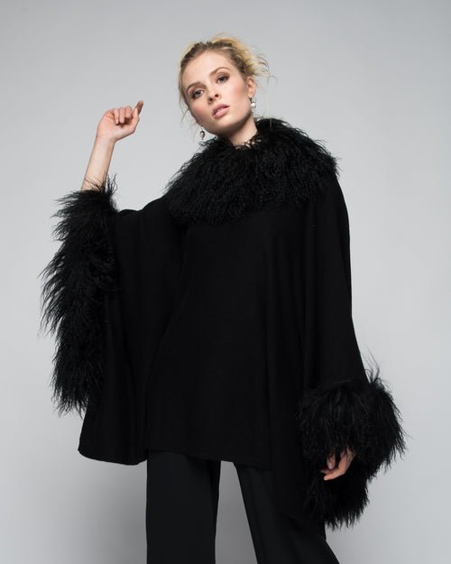 Cashmere Poncho with Full Tibetan Sheep Fur Trim in Black