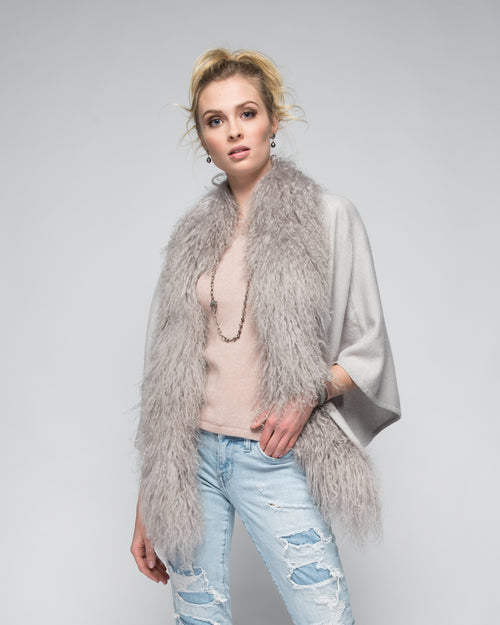 Cashmere Cape with Front Tibetan Sheep Fur in Dove Gray