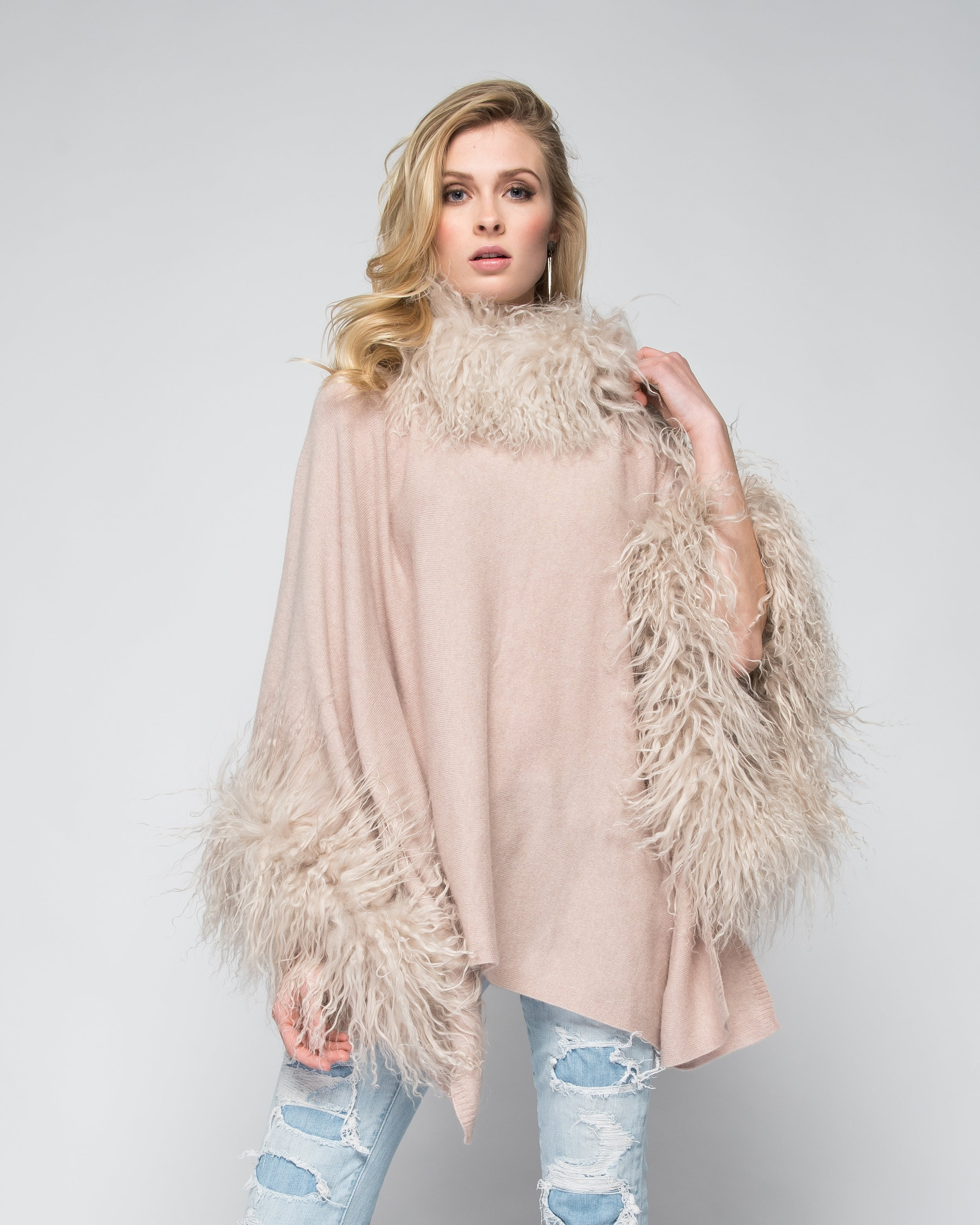 Cashmere Poncho with Full Tibetan Sheep Fur Trim in Blush