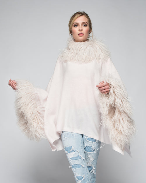 Cashmere Poncho with Full Tibetan Sheep Fur Trim in Shell