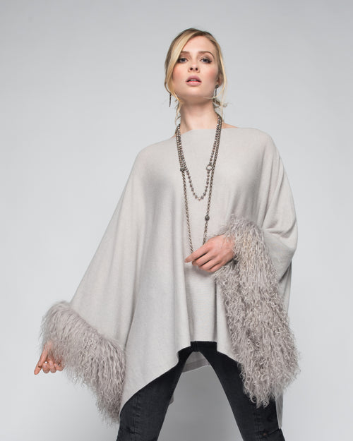 Cashmere Poncho with Tibetan Sheep Fur Trim on Cuff in Dove Gray