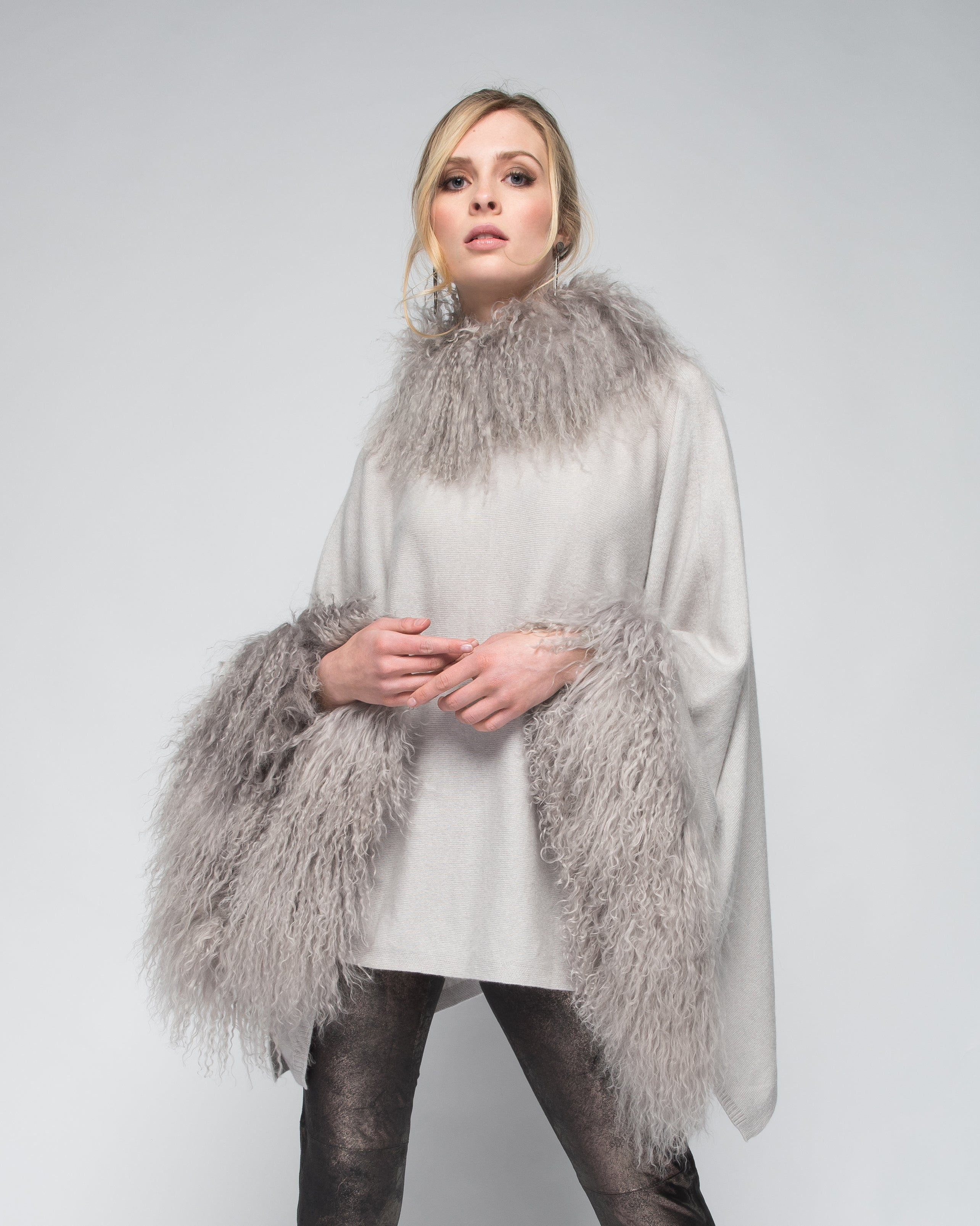 Cashmere Poncho with Full Tibetan Sheep Fur Trim in Dove Gray