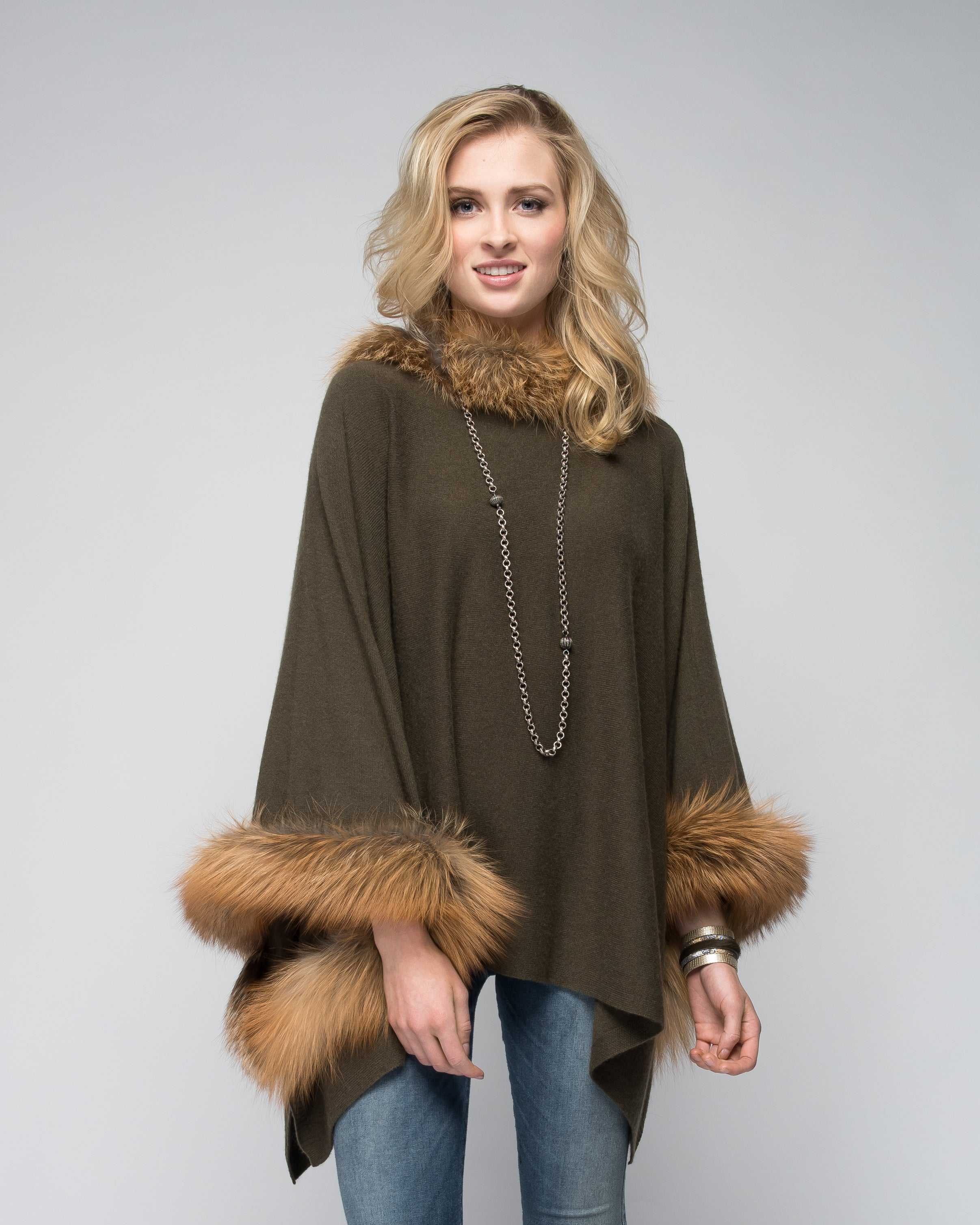 Cashmere Poncho with Full Fox Fur Trim in Hunter Green