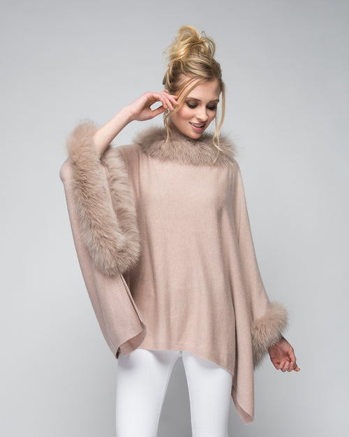 Cashmere Poncho with Full Fox Fur Trim in Blush