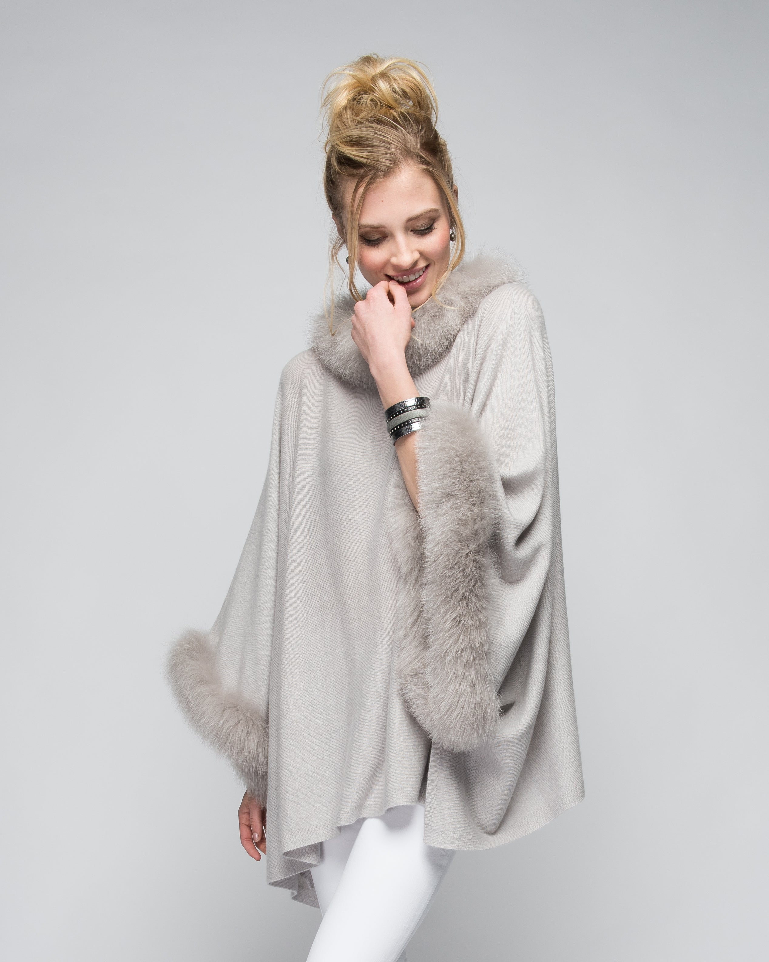 Cashmere Poncho with Full Fox Fur Trim in Dove Gray