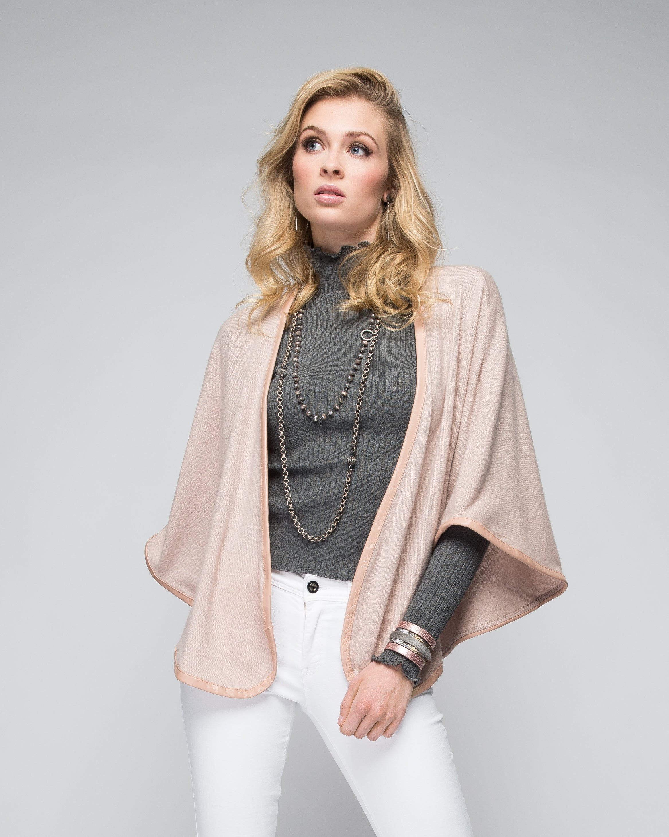 Cashmere Cape with Full Leather Trim in Blush