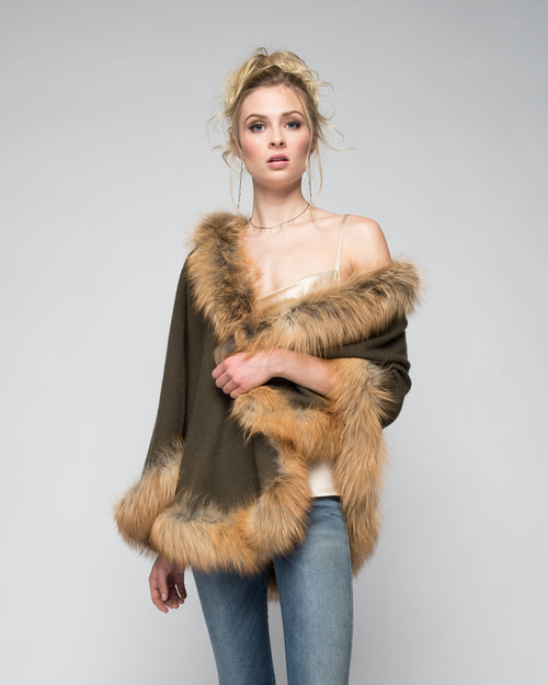Cashmere Cape with Full Fox Fur Trim in Hunter Green