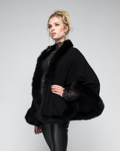 Cashmere Cape with Full Fox Fur Trim in Black