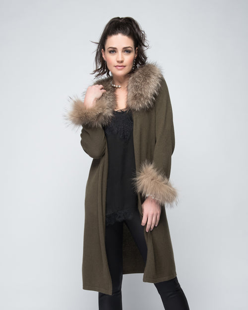 Cashmere Duster with Raccoon Fur Trim in Hunter Green