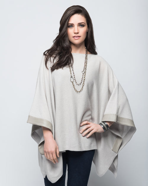 Cashmere Poncho with Leather Trim in Dove Gray