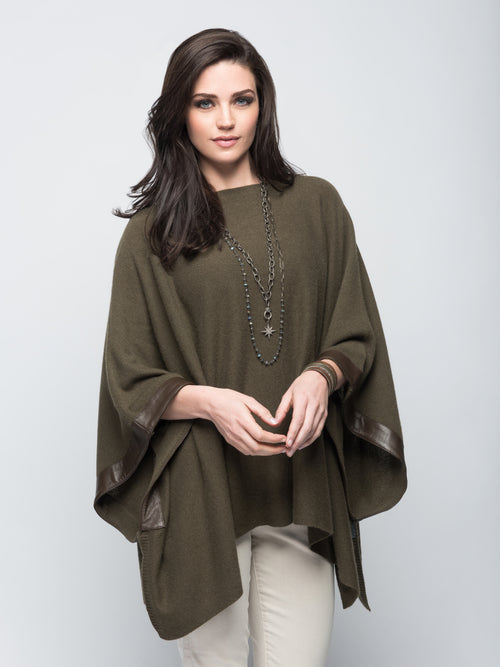 Cashmere Poncho with Leather Trim in Hunter Green
