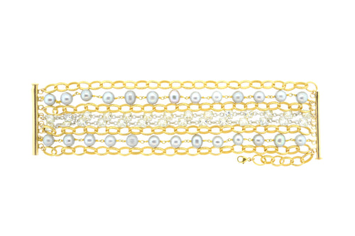 Gold & Gray Potato Pearl Paris Bracelet