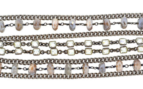 Oxidized Sterling Silver & Peach Moonstone Paris Bracelet