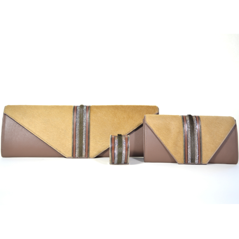 Brown Zip Leather Namibia Cuff with Khaki Hide