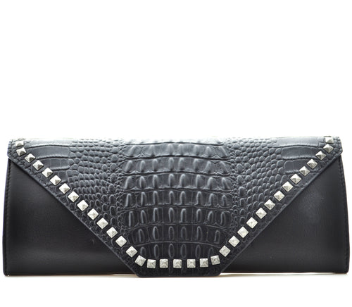 Black Leather Croc-Effect Clutch