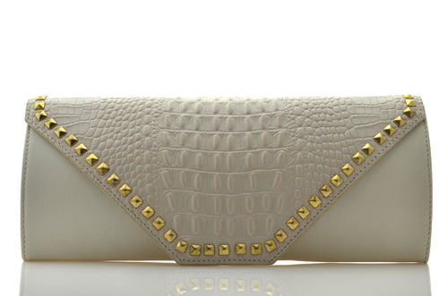 Cream Leather Croc-Effect Clutch